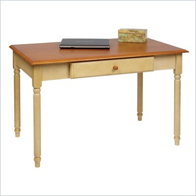 Office Star Country Cottage Wood Writing Desk in Antique Whitewash and Cherry