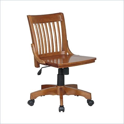 Office Star Deluxe Armless Wood Bankers Chair with Wood Seat in Medium Fruitwood