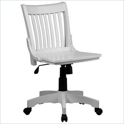 Office Star Deluxe Armless Wood Bankers Chair with Wood Seat in White