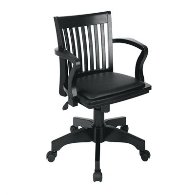 Office Star Deluxe Wood Bankers Chair with Vinyl Padded Seat 