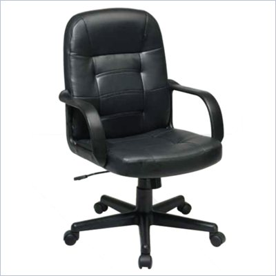 Office Star Mid Back Eco Leather Manager's Chair in Black