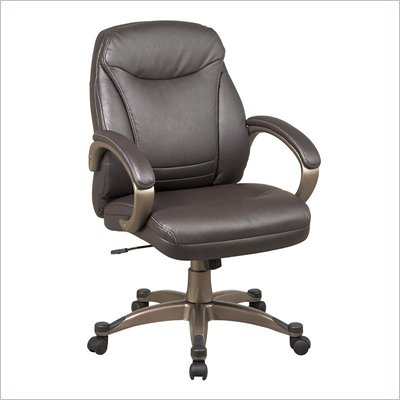 Office Star Faux Leather Mid Back Chair in Espresso