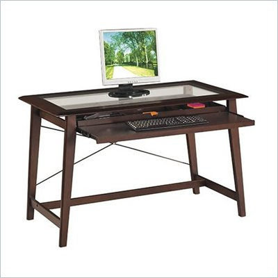 Office Star Fenton Computer Desk in Espresso w/ Glass Top