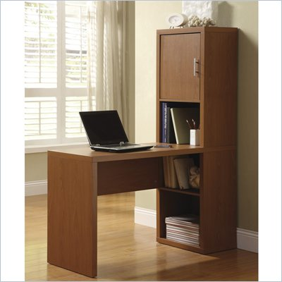 Office Star Fusion Library Desk with Storage Compartment in Pecan