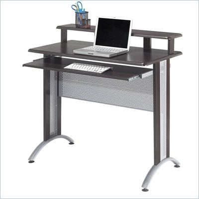 Office Star Fusion Computer Desk in Espresso with Silver metal accents