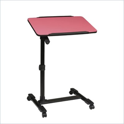 Office Star Adjustable Top Mobile Laptop Cart in Pink