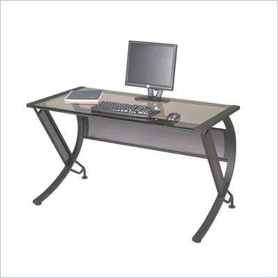 Office Star Horizon Corner &amp; Return in Black / Bronze Glass