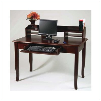 Office Star 48&quot;  Home Office Wood Writing Desk with Hutch in Walnut