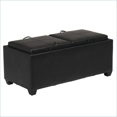 Office Star Metro Storage Bench Ottoman w/ Trays in Espresso Finish