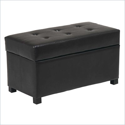 Office Star Faux Leather Metro Storage Bench Ottoman