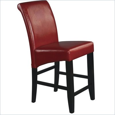 Office Star Metro 24&quot; Parsons Barstool in Crimson Red Bonded Leather