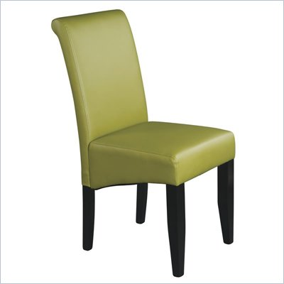 Office Star Metro Parsons Dining Chair in Kiwi Green Bonded Leather
