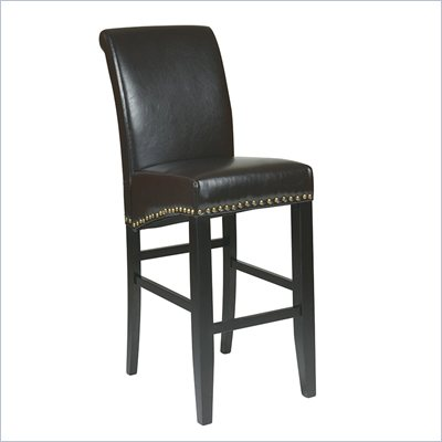 "Office Star Metro 30"" Eco Leather Parsons Barstool in Espresso"