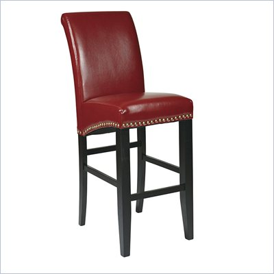Office Star Metro 30&quot; Eco Leather Parsons Barstool in Red