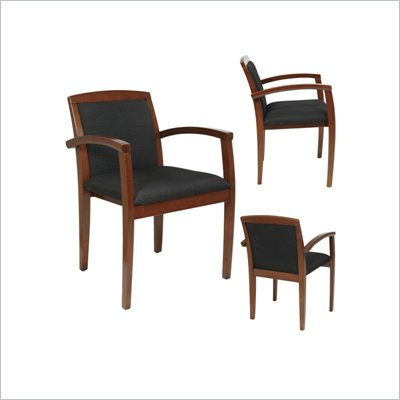 Office Star Wood Guest Chair in Mahogany/Black (Set of 2)