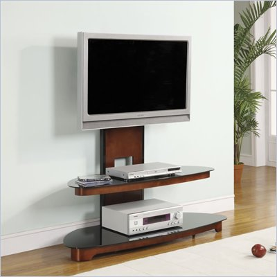 Office Star OSP 50&quot;TV Stand w/ TV Mount in Black Glass and Dark Cherry