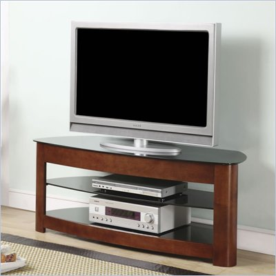 Office Star OSP 49&quot; TV Stand in Black Glass and Dark Cherry