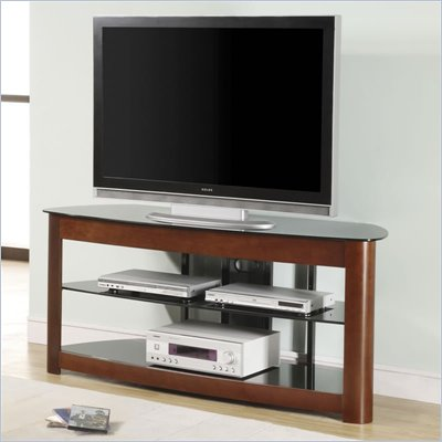 "Office Star OSP 60"" TV Stand in Black Glass and Dark Cherry"