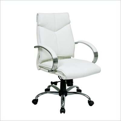 Office Star Deluxe Mid Back White Leather Executive Chair