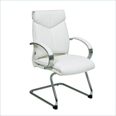 Office Star Deluxe Mid Back Executive Chair with Chrome Finish Base and Arms in White Leather