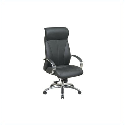 Office Star Deluxe High Back Executive Black Leather Chair