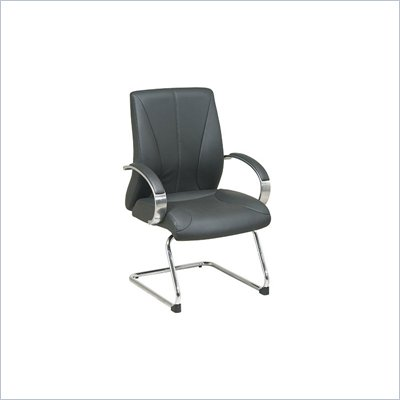 Office Star Deluxe Mid Back Black Leather Visitors Chair