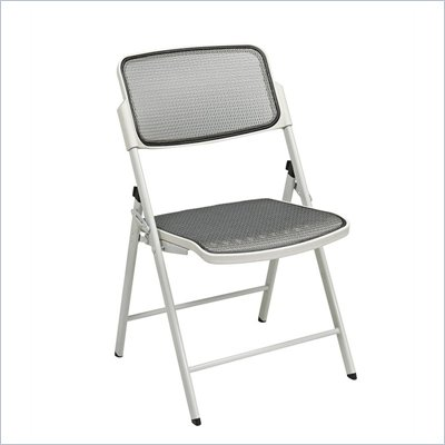 Office Star Deluxe ProGrid  Folding Chair in Beige (Set of 2)