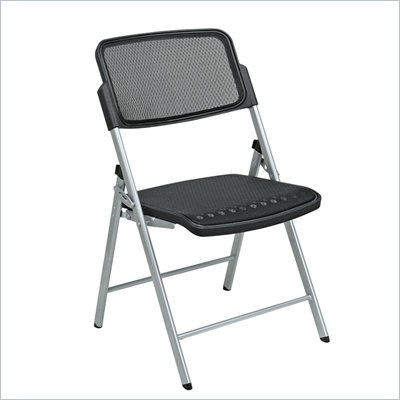 Office Star Deluxe Folding ProGrid Chair in Silver (Set of 2)