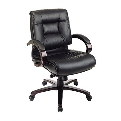 Office Star Deluxe Mid Back Executive Leather Office Chair with Locking Mid Pivot Knee Tilt and Mahogany Finish