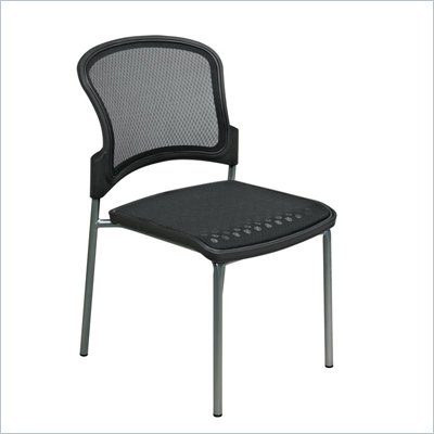 Office Star ProGrid Visitor Chair in Titanium Finish (Set of 2)