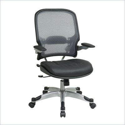 Office Star 15 Light Air Grid Back Managers Chair w/Black Leather Seat