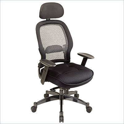 Office Star SPACE Collection: Deluxe Matrex Back Executive Office Chair with Mesh Seat in Black