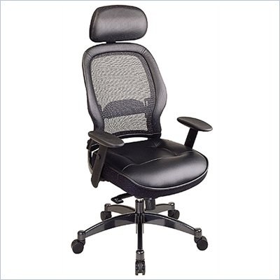 Office Star SPACE Collection: Deluxe Matrex Back Executive Chair with Leather Seat