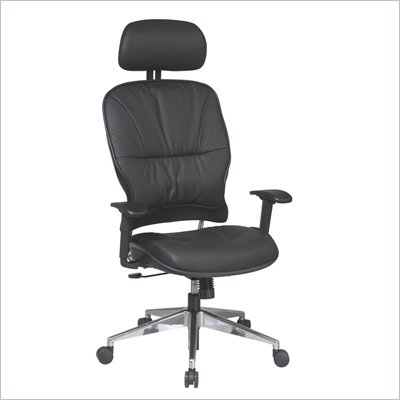 Office Star 32 Black Leather Managers Chair w/ Adjustable Headrest