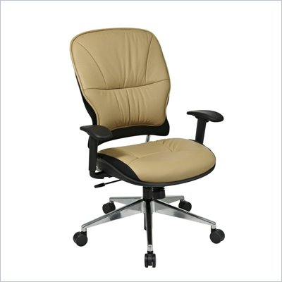 Office Star 32 Taupe Leather Managers Chair w/ Aluminum Base