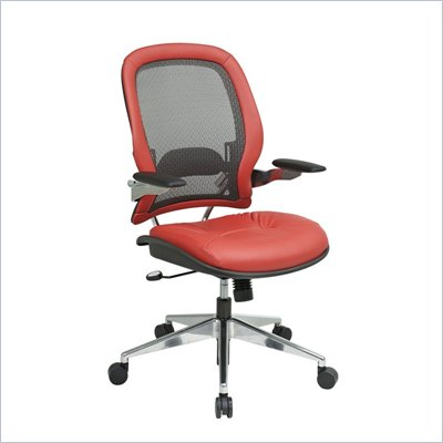 Office Star 335 Charcoal Mesh Back w/ Crimson Red Leather Seat & Trim