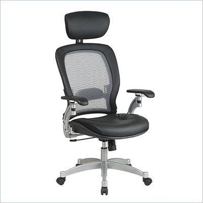 Office Star SPACE Collection: Air Grid Back Executive Leather Office Chair w/Adjustable Headrest