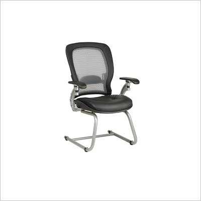 Office Star SPACE Collection: Air Grid Back Leather Guest Chair with Platinum Finish Cantilever Base