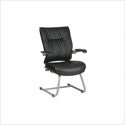 Office Star SPACE Collection: Deluxe Leather Guest Chair with Platinum Finish Cantilever Base