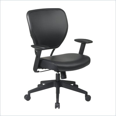 Office Star 55 Vinyl Back Task Chair w/ Vinyl Seat in Black