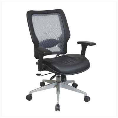 Office Star 63 Light Air Grid Managers Chair w/ Layered Leather Seat