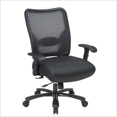 Office Star 75 Big Man's Air Grid Back &amp; Leather Seat Ergonomic Chair