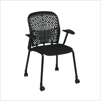 Office Star 801 Raven Visitors Chair w/ BF, Arms &amp; Casters (Set of 2)