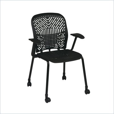 Office Star 801 Raven Visitors Chair w/ BF, Arms & Casters (Set of 2)