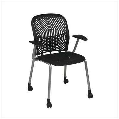 Office Star 801 Raven Visitors Chair w/ PF, Arms &amp; Casters (Set of 2)