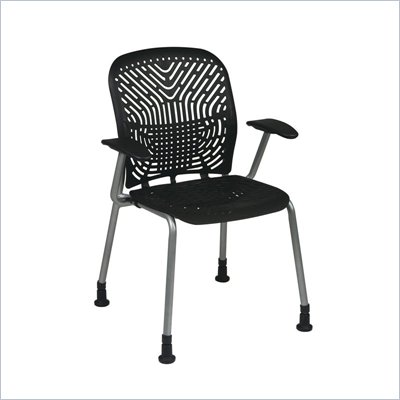 Office Star 801 Raven Visitors Chair w/ PF, Arms &amp; Glides (Set of 2)