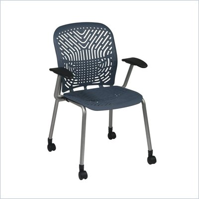 Office Star 801 Blue Visitors Chair w/ PF, Arms &amp; Casters (Set of 2)