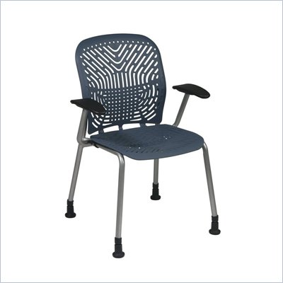 Office Star 801 Blue Visitors Chair w/ PF, Arms &amp; Glides (Set of 2)