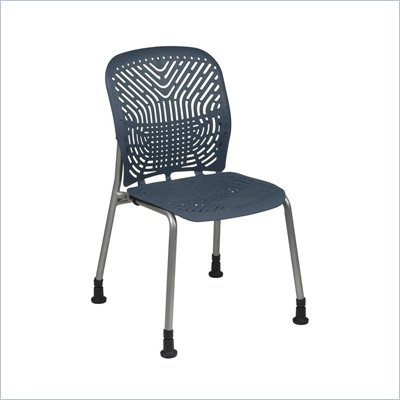 Office Star 801 Blue Visitors Chair w/ PF &amp; Glides (Set of 2)