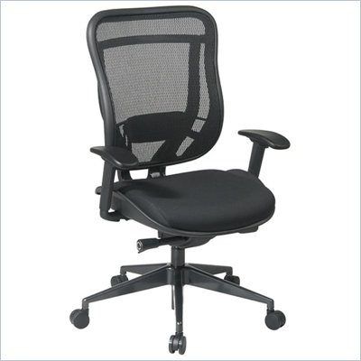 Office Star 818 High Back Chair w/ Mesh Seat in Black/Gunmetal